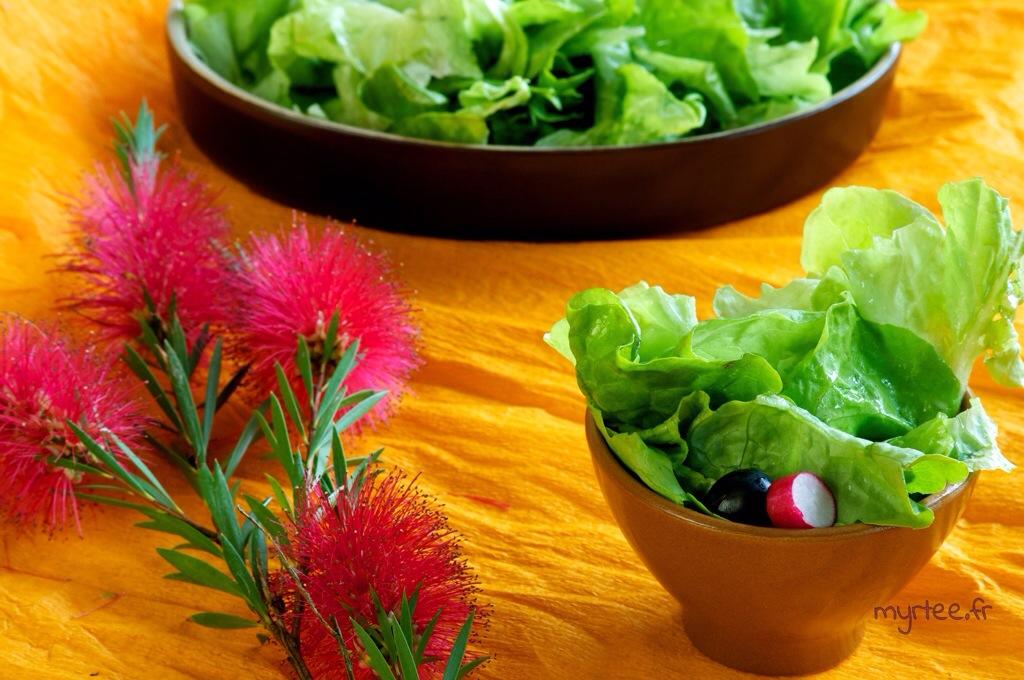 Une salade avec de la vinaigrette