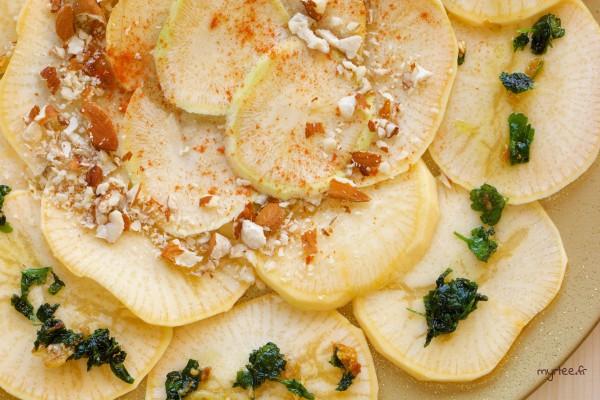 Un carpaccio végétarien de rutabaga