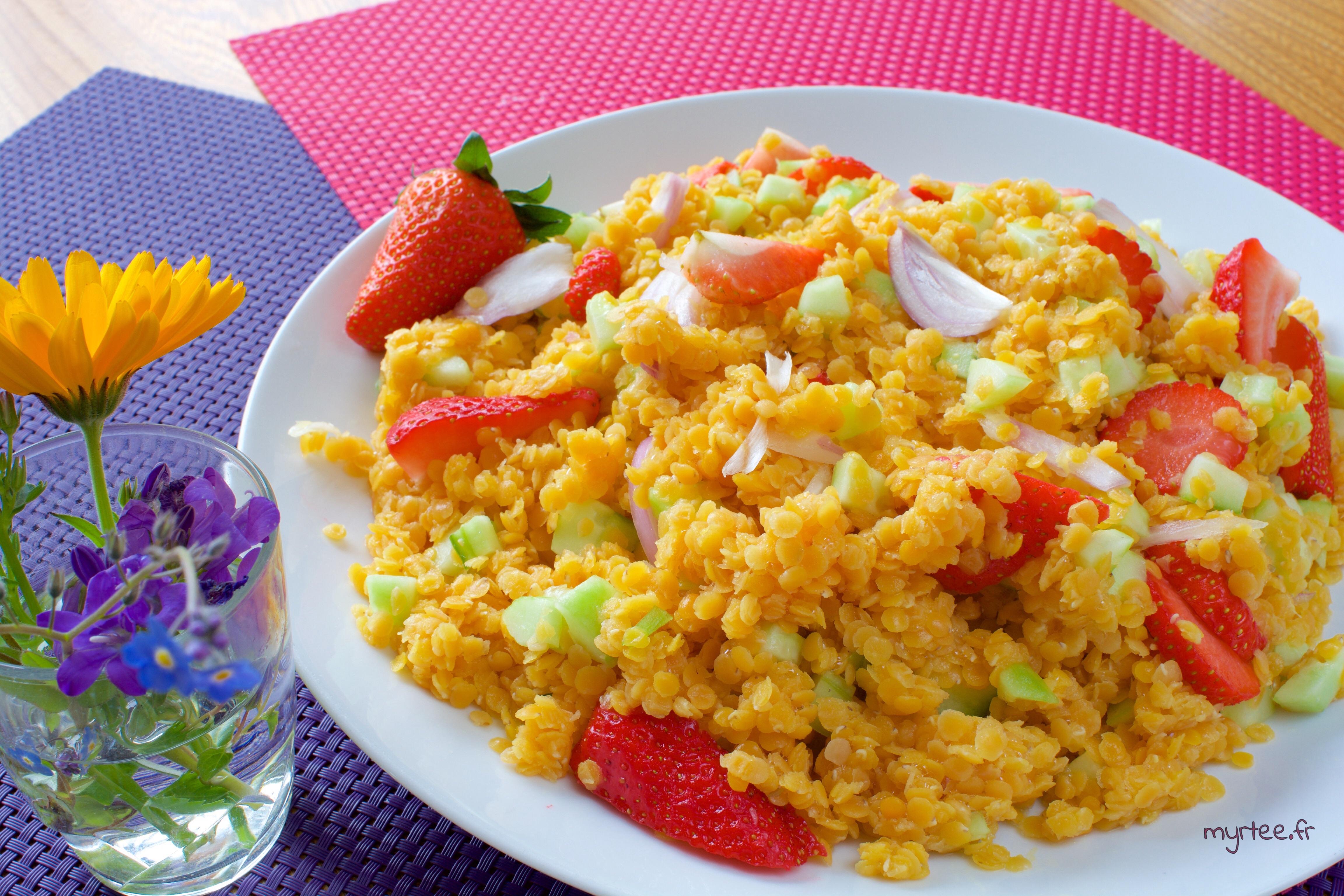 Une salade de lentilles corail