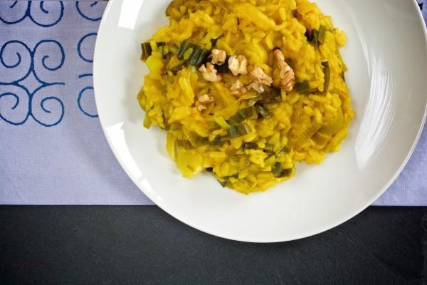 Un risotto épicé au poireau (Vegan)