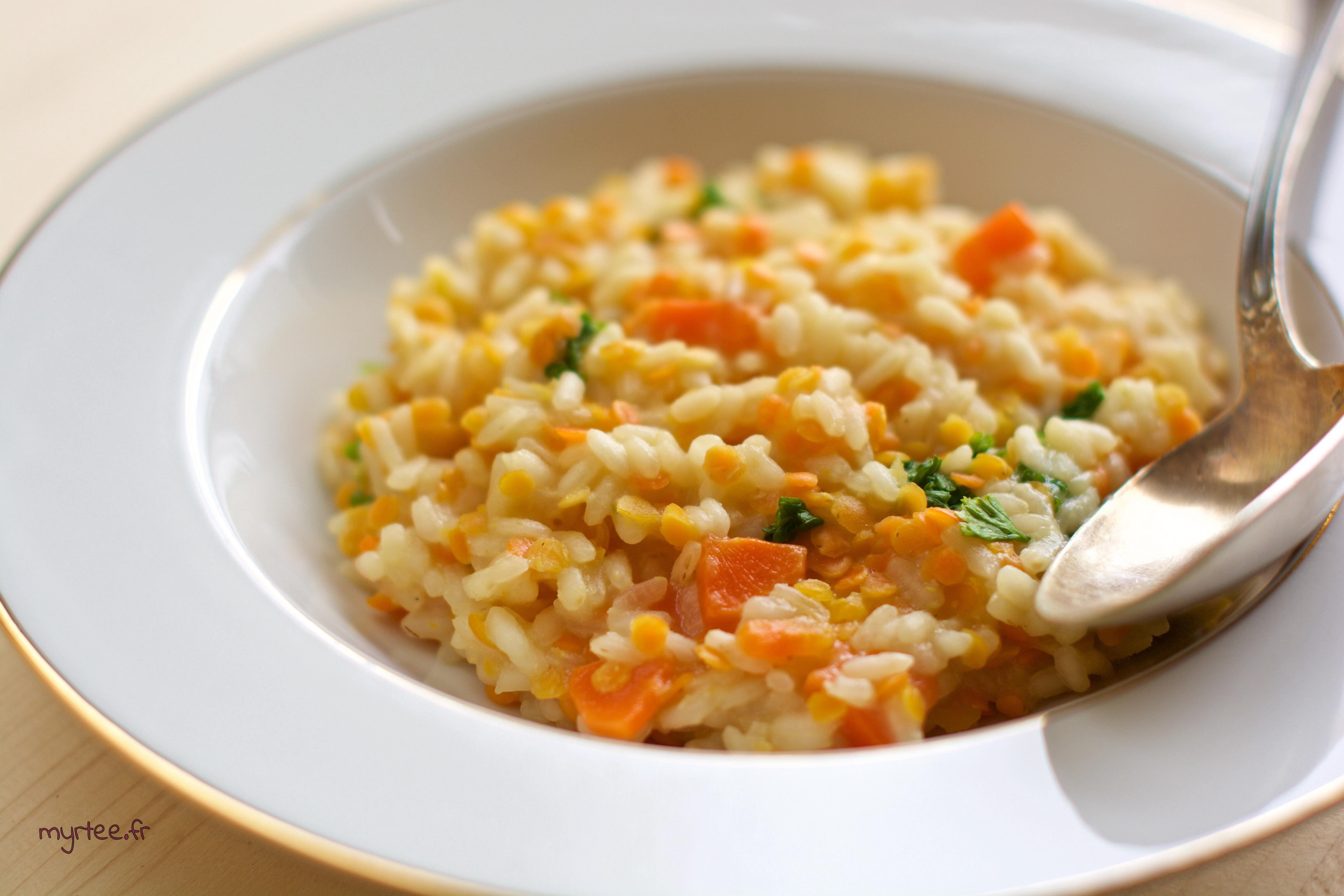 Un risotto aux lentilles corails (vegan)