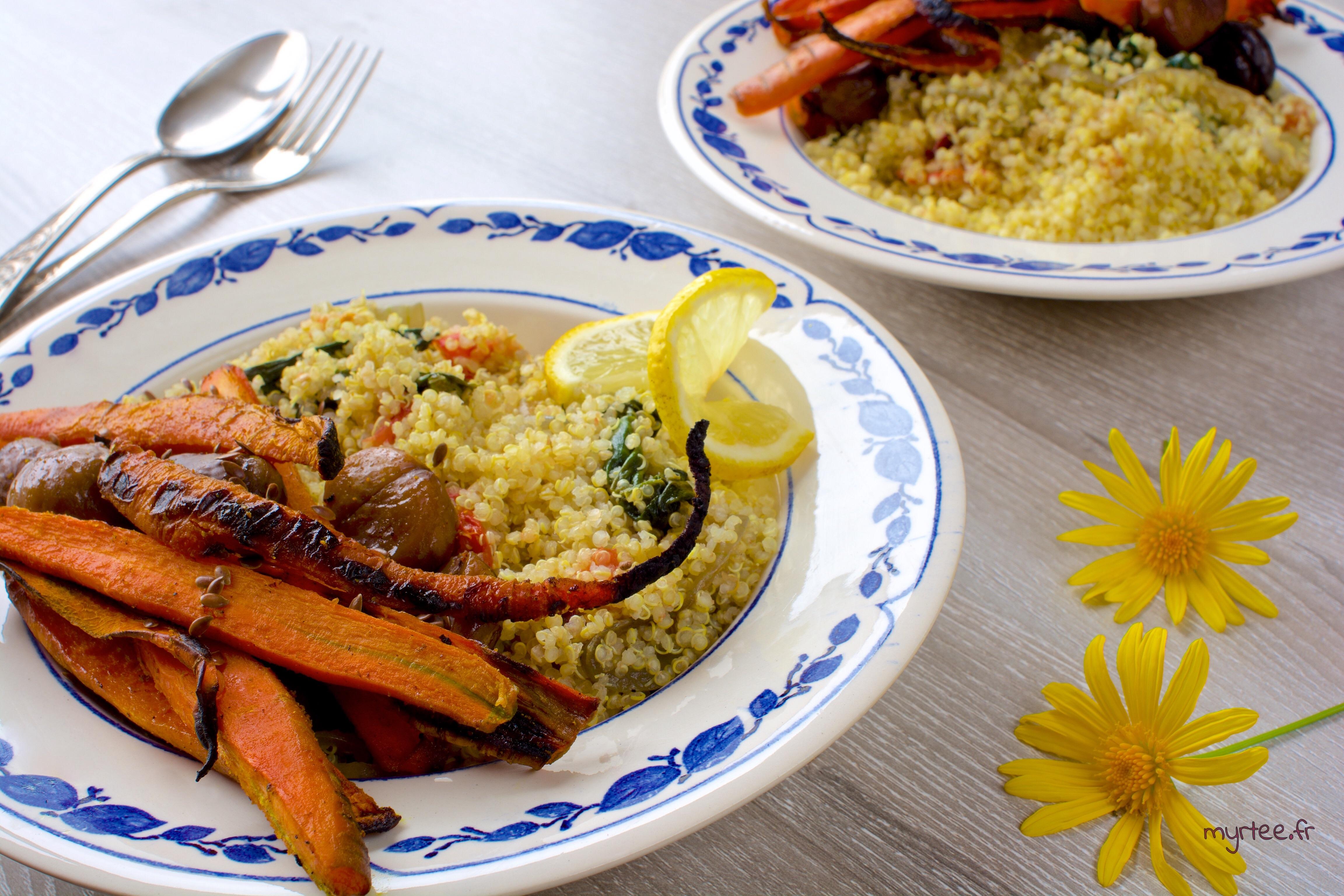 Quinoa et ses carottes rôties (vegan)