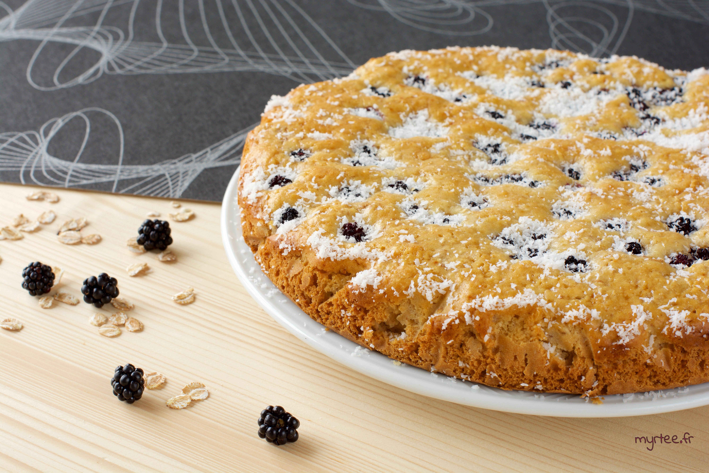Gâteau croquant aux mûres (vegan)