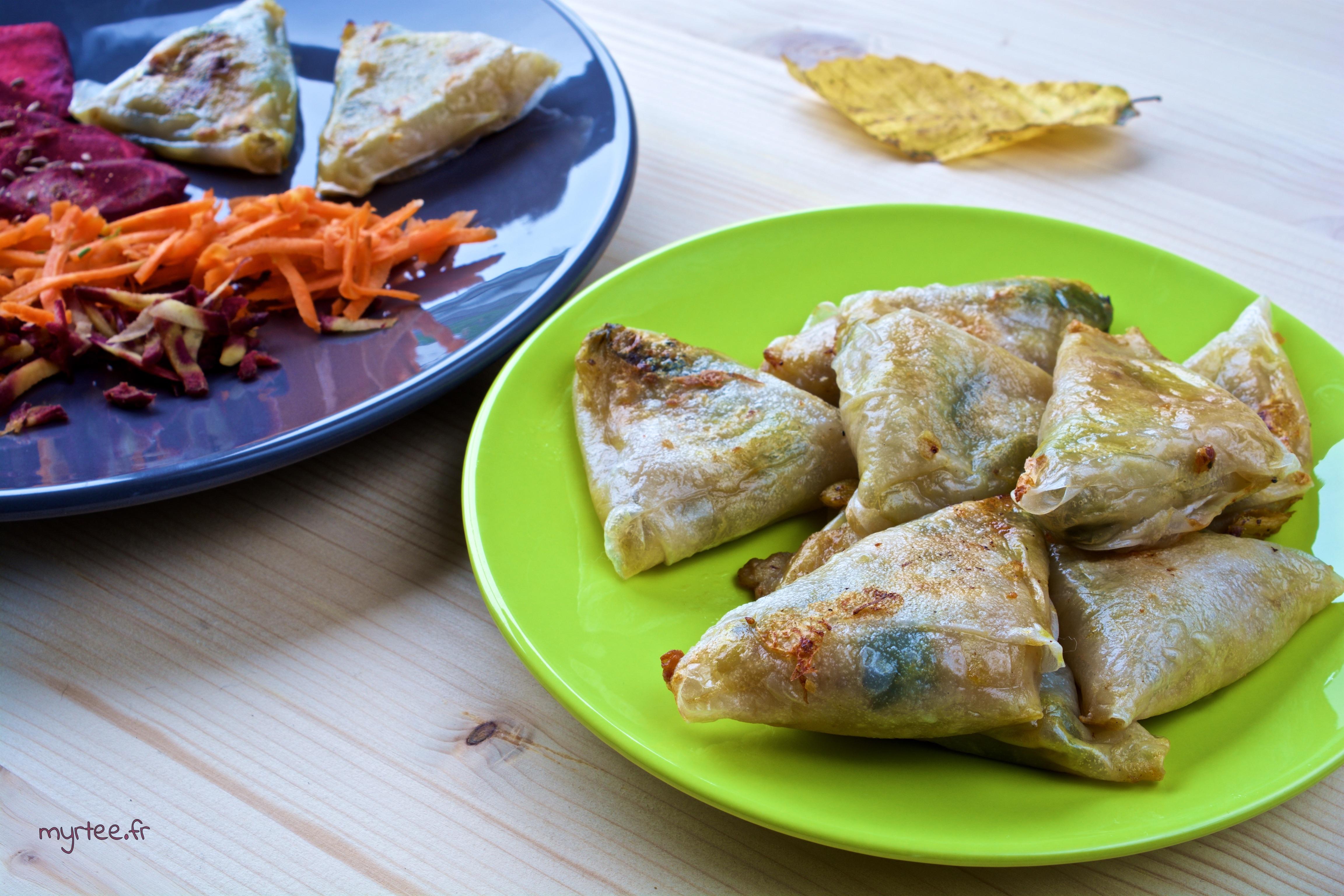 Samoussas poireaux fromage (vegan)