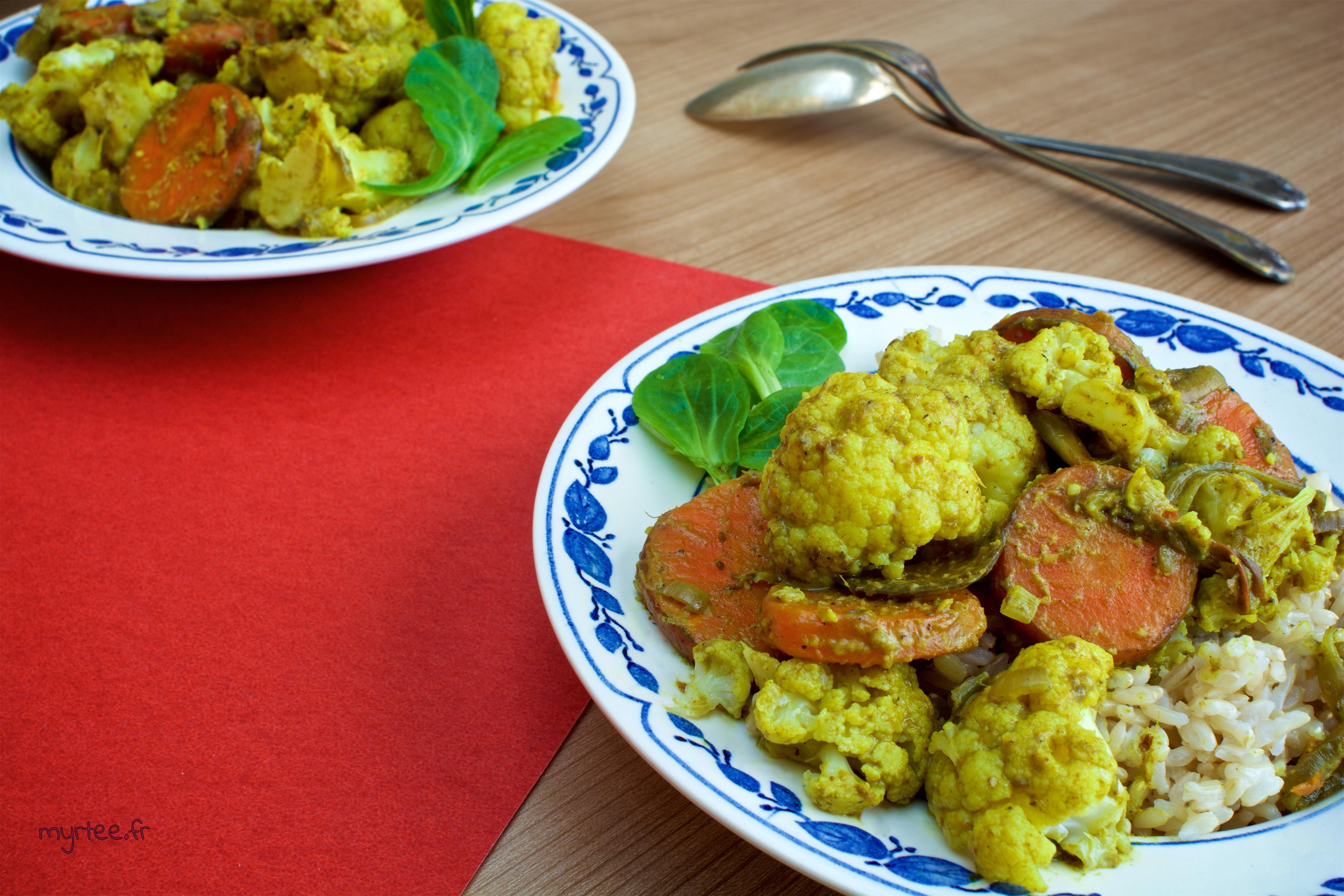 Un curry de chou fleur (Vegan)