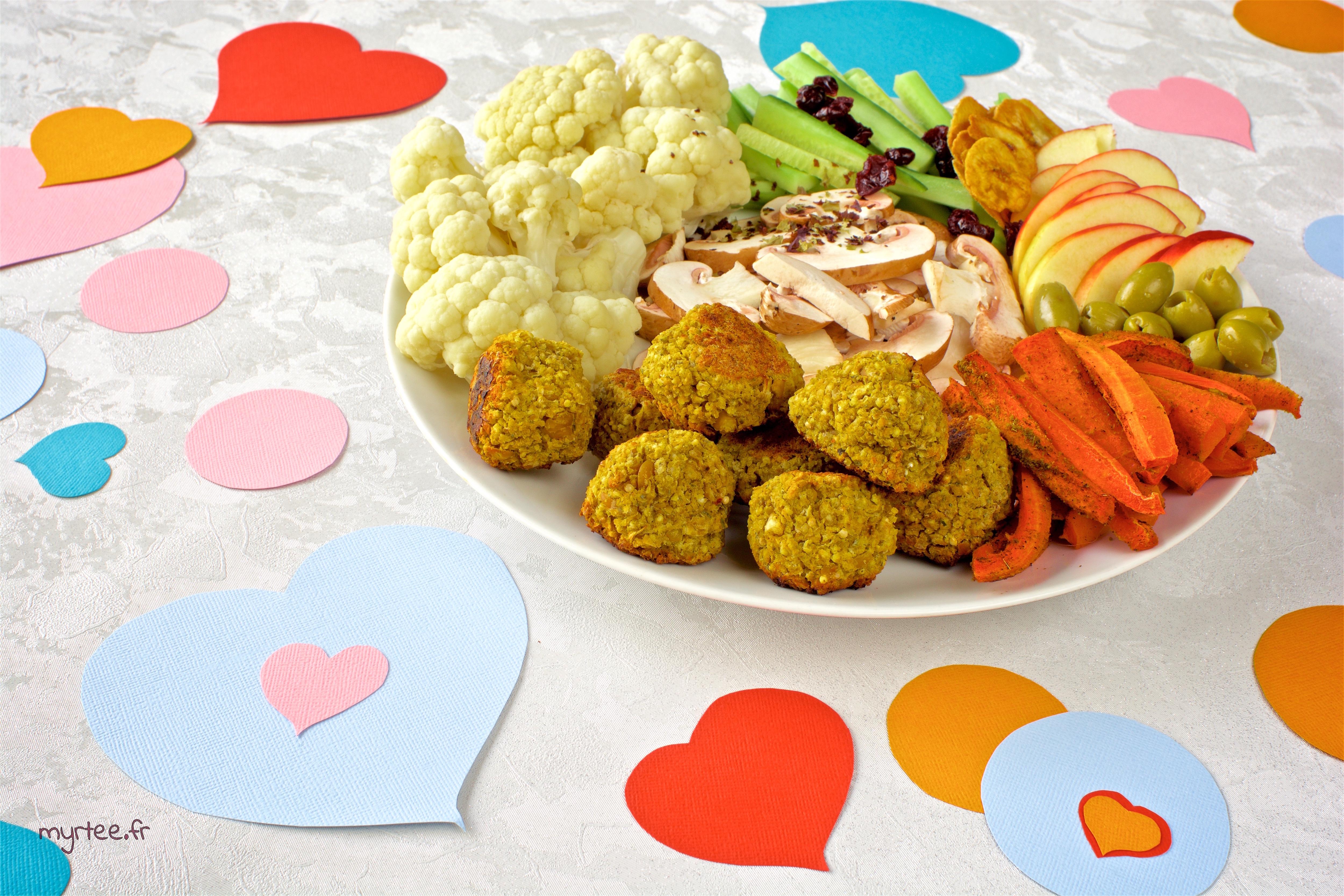 Une assiette de St Valentin (vegan)