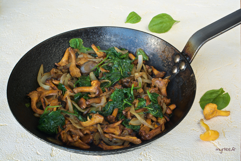 Une poêlée de pleurotes aux épinards (vegan)